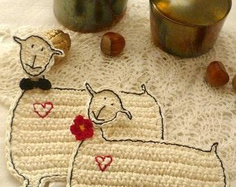 Crochet Sheep Coasters - Lamb Coasters - Wedding Gift - Sheep Coffee Coasters - Lamb Coasters - Housewarming Gift -  Gift for Couple