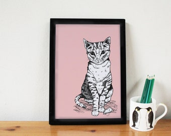 Cat Print - cat art - cat drawing - nursery print - baby shower - cat lover gift - cat illustration -cute print - nursery decor - pink - cat