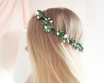 Greenery crown Baby breath flower crown Greenery Baby breath headpiece Greenery halo Baby's breath greenery flower crown Bridal boho crown