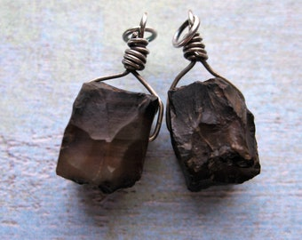 Hammered Walnut Agate Cube Bead Charms - 1 pair - 26mm in length