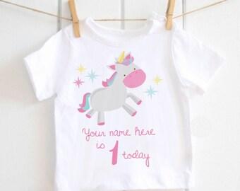 Personalised 1st birthday girls Tshirt - unicorn, cake smash,toddler Tshirt, baby top, toddler top, happy birthday, first birthday, gift