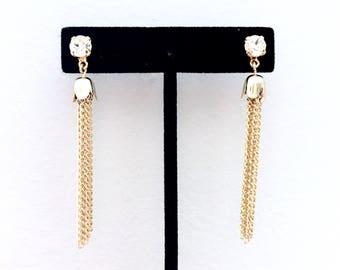 Tassel Stud Earrings • Clear Swarovski Crystal Fringe