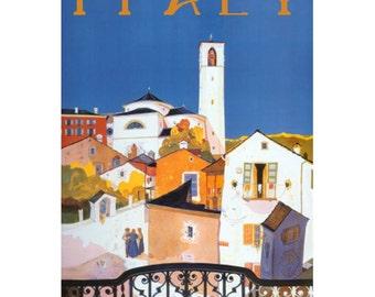 ITALY 6-Handmade Leather Postcard / Note Card / Fridge Magnet - Travel Art