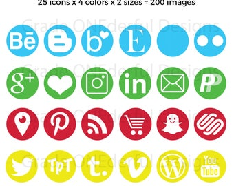 Round Social Media Icons, Blue Green Red Yellow Blog Buttons, Social Graphics, Blog Icons, Icons for Resumes, Icons for Product Pages