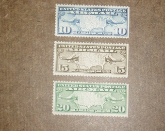 Vintage Mint USA Airmail Stamps, C7-9, Never Hinged Set