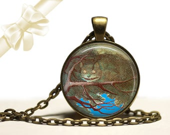 Alice in Wonderland Cheshire Cat brass Pendant Necklace Free Shipping Gifts for her