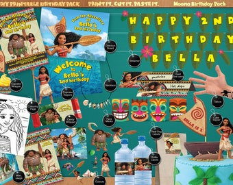 Moana - Printable Birthday Party Pack - DIY - Print. Cut. Make. including Invitation, labels, streamer, signage, cutouts and much more