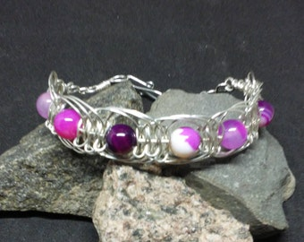 Knotted Herringbone Sterling Silver Bangle Bracelet