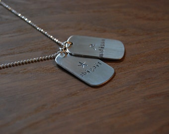Dog Tag Necklace - Two Tags on Sterling Ball Chain