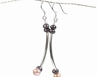 gray pearl earrings, gray earrings, pearl earrings, gray pearl, silver earrings, pink pearl earrings, silver ear hooks, long earrings