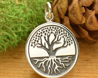 Sterling Silver, Etched Tree, Tree of Life, Tree of Life Charm, Tree with Roots, Silver Tree of Life, Etched Tree of Life, Silver Etched