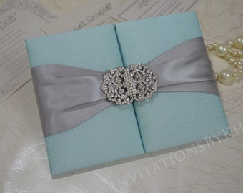 Luxury Wedding Invitation Silk Wedding Invitation Folio
