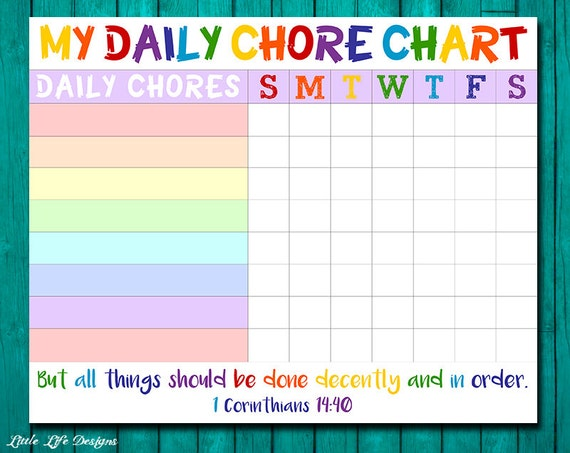 Chore Chart For Kids Chore Chart Printable Chore List Kids