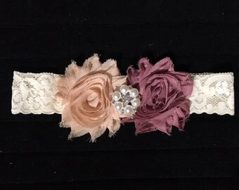 Baby Little Girl's Headband - Dusty Plum & Tan Champagne Flowers Rhinestone Pearl Center - Ivory Elastic Lace