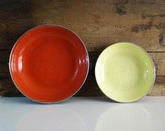 Vintage Enamel Emo Celje Pans / Nesting Paella Pans / Emo-Frite Yugoslavia