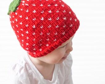 Baby Strawberry Hat KNITTING PATTERN / Fair Isle Knit Hat / Strawberry Baby Gift / Baby Fruit Hat / Strawberry Baby Hat / Strawberry Pattern