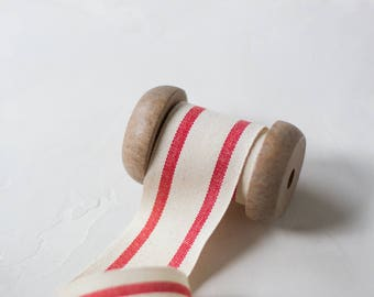 "Red + Natural French Stripe Organic Cotton Ribbon (with Wooden Spool) - 5 yards - 1.5"" wide"