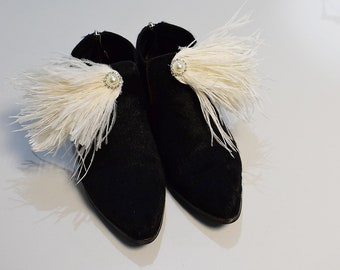 Boots clips, feather shoe clips, wedding shoe clips, white shoe clips, transferable shoe clips, wedding shoes, personalized shoes