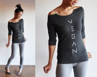 Vegan Top :  Charcoal Open-Neck New Long Sleeve