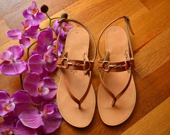Brown leather sandals, Greek sandals, Slingback sandals, Greek leather sandals, Available in Three different colors ''Dupe''