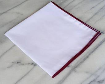 Cotton Mens Pocket Square-Handmade 100% Cotton Solid White Pocket Square with Maroon Border/Edge, Cotton Pocket Square, Suit Pocket Square