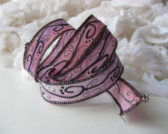 Hand Scripted Scroll Silk Fairy Ribbon/Hand Dyed with Ink Design/DIY Bracelet/Jewelry Supply/Pink Purple Fairy Ribbon/Hand inked scroll wrap