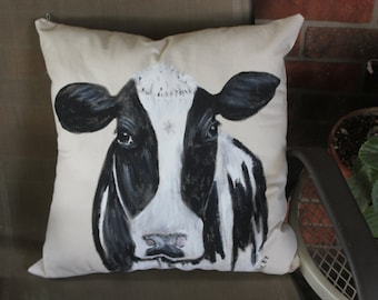 Hand painted Holstein black and white cow pillow or pillow cover, Rustic farm house, country decor