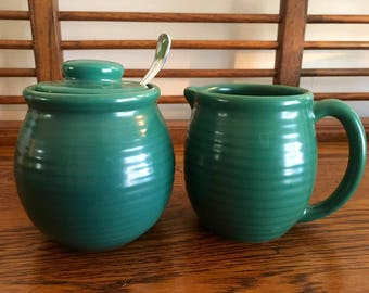 Green Sugar Bowl & Creamer Set