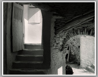 Black And White Greek Islands Photography, Mykonos Walkway Study III, Fine Art Photography, White Washed Walkway.