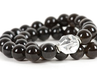 Black Morion, Smoky Quartz, Gemstone Bracelet, stretch, Handmade Jewelry, Gemstone Jewelry, unique gift for wife, fashion, chakra, energy