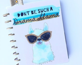 """Happy Planner Cover Set: """"Dont Be Such a Drama Llama"""", 10 Mil Laminated"""