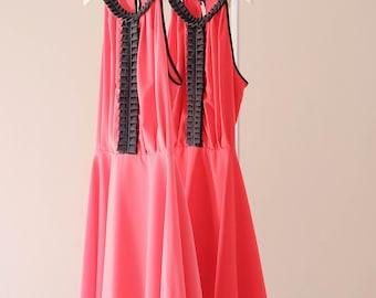 SALE S Coral dress Red sundress spring summer dress coral party dress red bridesmaid dress prom dress
