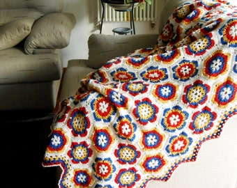 Crochet blanket, Throw blanket, handmade Hexagon afghan, crochet afghan 100% pure Merino Wool, Granny square