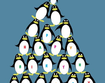 Penguin Pile Birthday Card