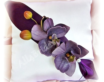 Wedding pillow, purple and lilac orchids ring bearer pillow, wedding ring cushion.