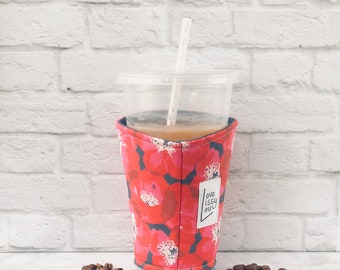 Iced Coffee Cozy, Coffee Cozy, Cup Cozy, Insulated Cup Sleeve, Coffee Cozies, Cup Sleeve, Cozies, Poppies Coffee Cozy, Coffee Gifts