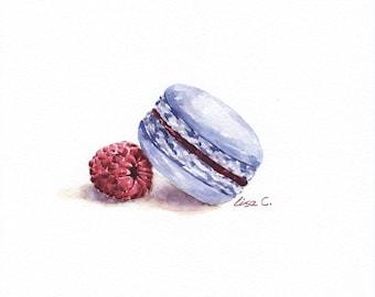 "Watercolor Print  ""Raspberry Macaron"" macaron Art , Snack Art, Kitchen Art, Food Illustration Watercolor Art Print"