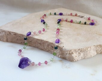Tourmaline Amethyst Sterling Silver Station Necklace Raw Gemstone Crystal Pendant Boho Layering Chain High End Fine Jewelry Life Bijou