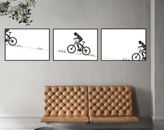 Bicycle Triptych Wall Art, Bicycle Art, Bike Art, Print from the Original Ink Drawing, Bicycle Lovers Gift, Bicycle Gift, Bicycle Wall Art