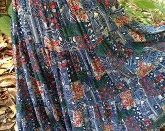 Free Shipping!!  Beautiful Vintage Boho Maxi Skirt  Festival Skirt - Colorful  Maxi Skirt, Blue-green Roses Skirt, Gypsy Dance Skirt