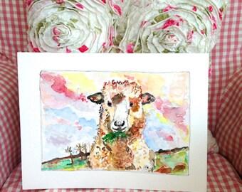 Ewe must be joking! - A4 Signed, Fine Art Print | girl, whimsy, flowers, illustration