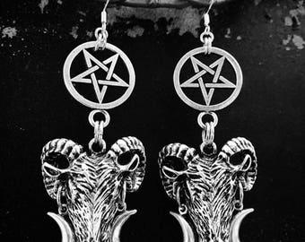 Inverted Pentagram Goat Earrings