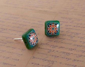 Teal Glass and Sterling Silver Post Earrings, Turquoise & Pink Spanish, Mexican, Catalina and Mediterranean Tile Inspired