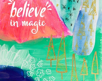 Inspirational Wall Art, Whimsical Art, Woodland Nursery Decor, Colorful Print, Girls Room, Typography Art Print, Pink Home Decor, Girls Art
