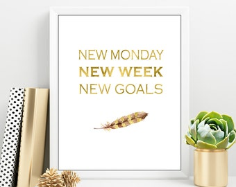 Monday Motivational Quote Printable, New GOALS Wall Art, Inspirational Gold Lettering Quote, Fitness Motivational Print, Feather Motivation