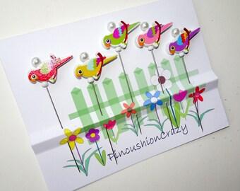 Wooden Bird Pins - Craft Embellishments Pins - Scrapbook & Cardmaking Pins - Tack Board Pins - Decorative Pins - Office Gift