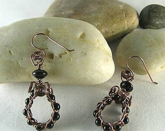 Dragon Glass Spiral Earrings - Obsidian