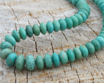 Turquoise Rondelle Beads - Graduated - Natural Stone Beads - Blue Green Stone - Item 423d