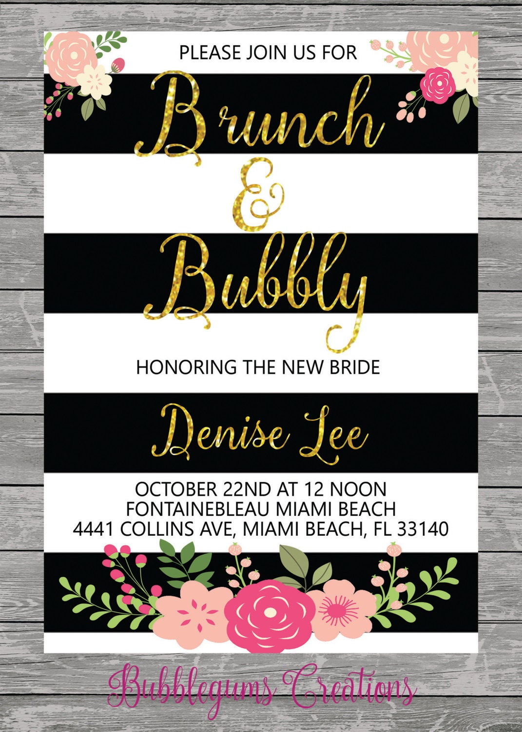 Brunch & Bubbly Bridal, Baby Shower Invitation printable, Black and ...