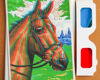 3D Anaglyph Big Eyed Horse Blank 5x7 Card